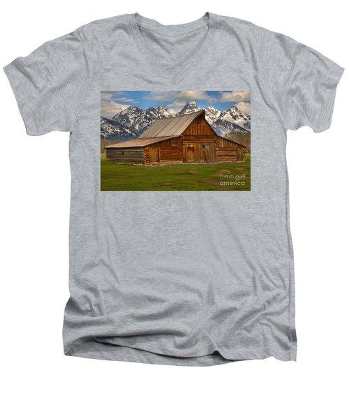 Teton Mountain Barn Men's V-Neck T-Shirt by Adam Jewell