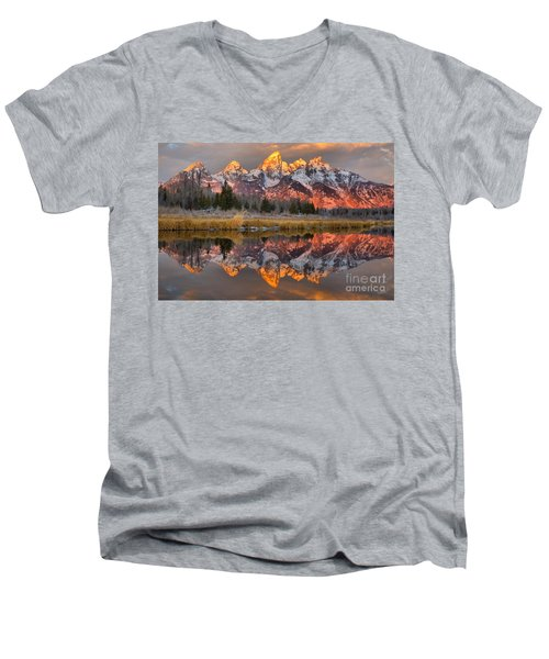 Teton Mountains Sunrise Rainbow Men's V-Neck T-Shirt by Adam Jewell