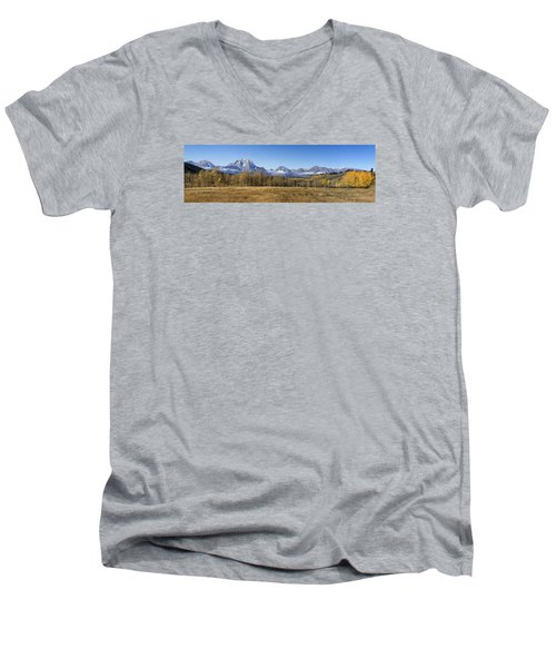 Men's V-Neck T-Shirt featuring the photograph Teton Panorama by Shirley Mitchell