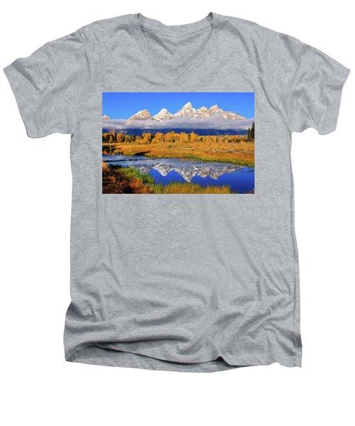 Teton Peaks Reflections Men's V-Neck T-Shirt