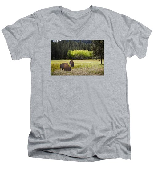 Men's V-Neck T-Shirt featuring the photograph Tetonka by John Hix