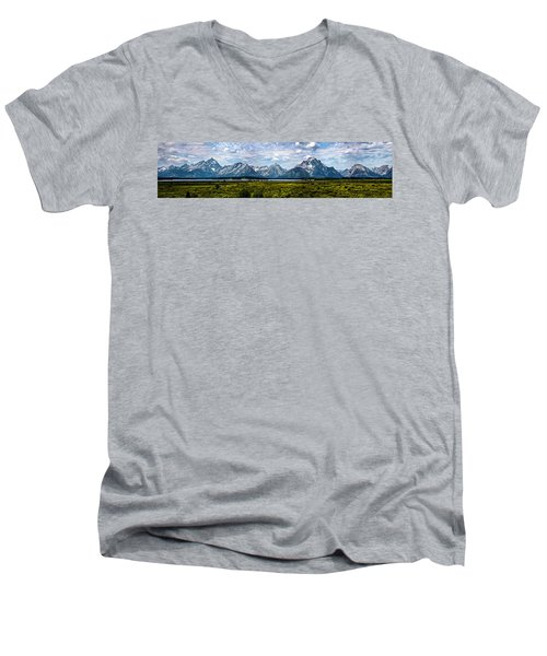 Men's V-Neck T-Shirt featuring the photograph Tetons - Panorama by Shane Bechler