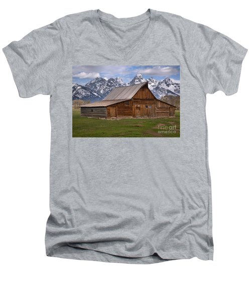 Tetons Towering Over The Moulton Barn Men's V-Neck T-Shirt by Adam Jewell