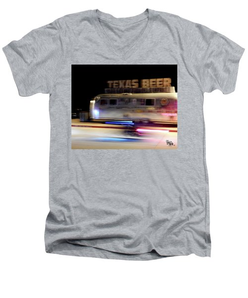 Texas Beer Fast Motorcycle #5594 Men's V-Neck T-Shirt by Barbara Tristan