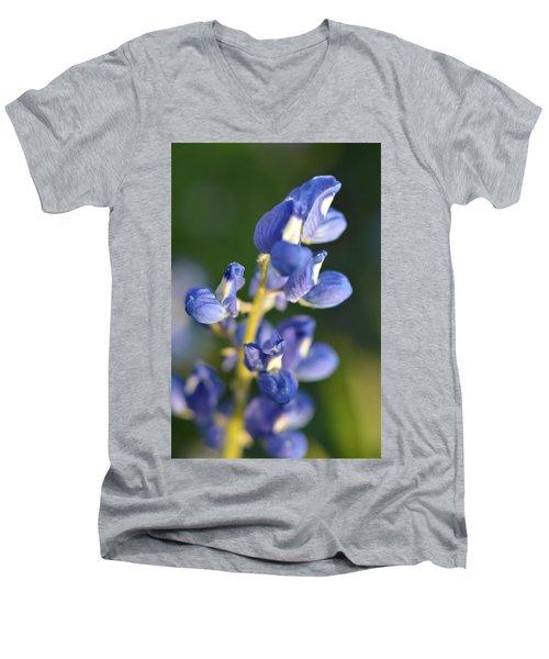 Texas Blue Bonnet Details 1 Men's V-Neck T-Shirt by Carolina Liechtenstein