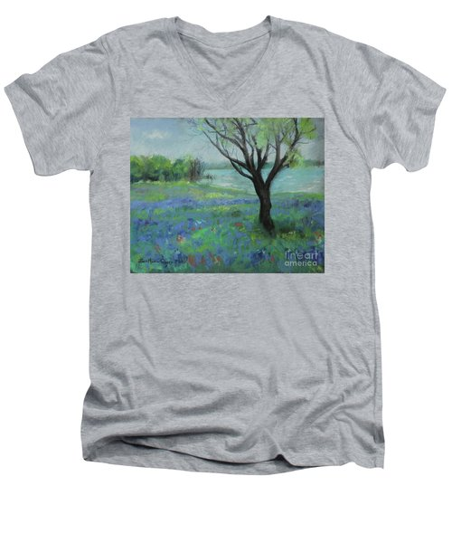 Men's V-Neck T-Shirt featuring the painting Texas Bluebonnet Trail by Robin Maria Pedrero