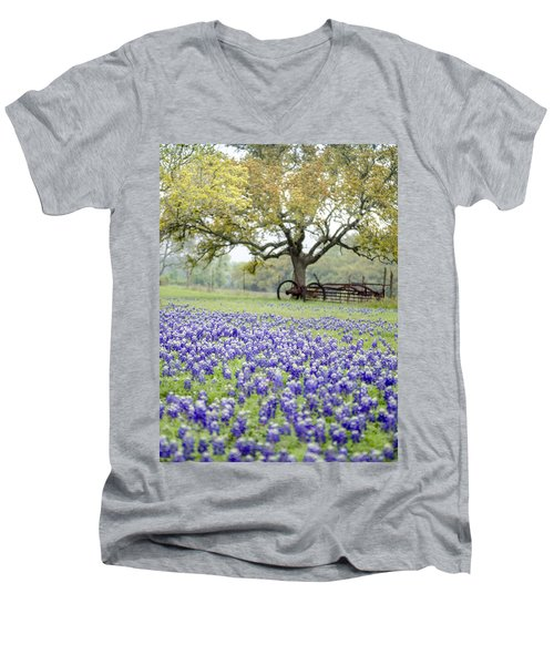Texas Bluebonnets And Rust Men's V-Neck T-Shirt by Debbie Karnes