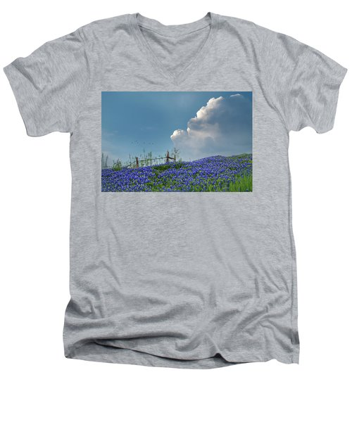 Men's V-Neck T-Shirt featuring the photograph Texas Bluebonnets And Spring Showers by David and Carol Kelly