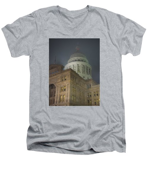 Texas Capitol In Fog Men's V-Neck T-Shirt