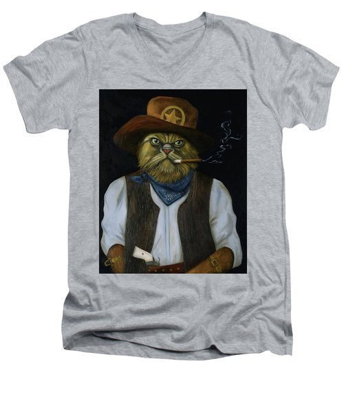 Men's V-Neck T-Shirt featuring the painting Texas Cat With An Attitude by Leah Saulnier The Painting Maniac