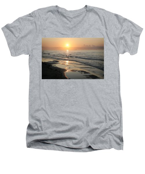 Texas Gulf Coast At Sunrise Men's V-Neck T-Shirt by Marilyn Hunt