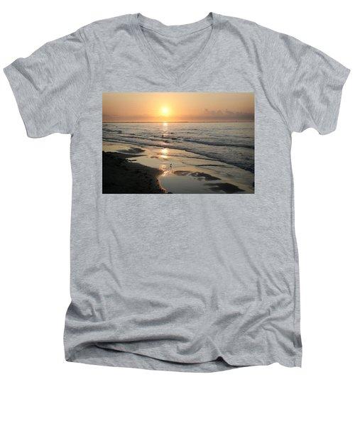Texas Gulf Coast At Sunrise Men's V-Neck T-Shirt