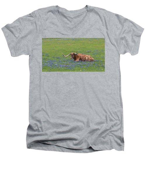 Texas Longhorn And Bluebonnets Men's V-Neck T-Shirt