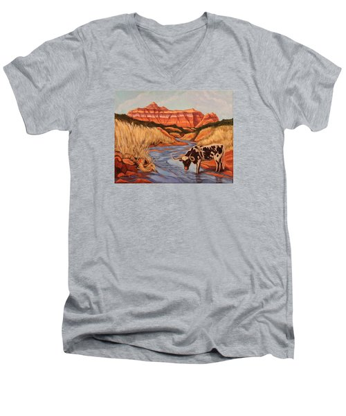 Texas Longhorn In Palo Duro Canyon Men's V-Neck T-Shirt