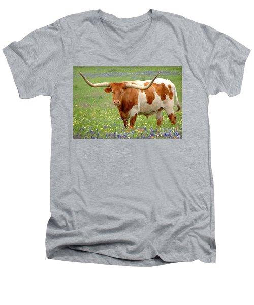 Texas Longhorn Standing In Bluebonnets Men's V-Neck T-Shirt by Jon Holiday