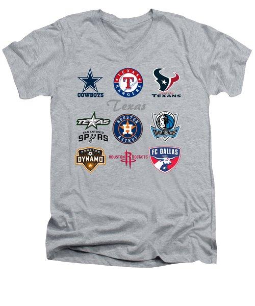 Texas Professional Sport Teams Men's V-Neck T-Shirt