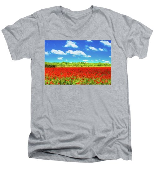 Texas Red Poppies Men's V-Neck T-Shirt