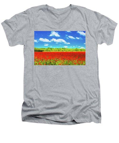 Texas Red Poppies Men's V-Neck T-Shirt