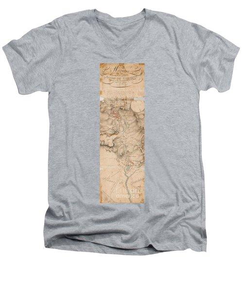 Texas Revolution Santa Anna 1835 Map For The Battle Of San Jacinto  Men's V-Neck T-Shirt