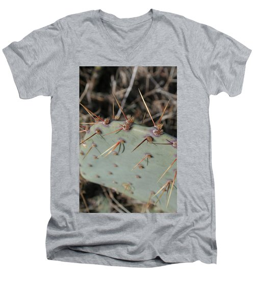 Men's V-Neck T-Shirt featuring the photograph Texas Spikes by Laddie Halupa