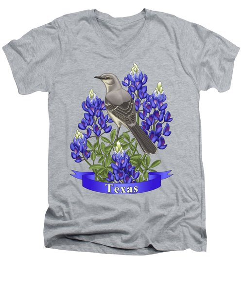 Texas State Mockingbird And Bluebonnet Flower Men's V-Neck T-Shirt by Crista Forest