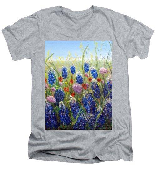Texas Tangle Men's V-Neck T-Shirt by Patti Gordon
