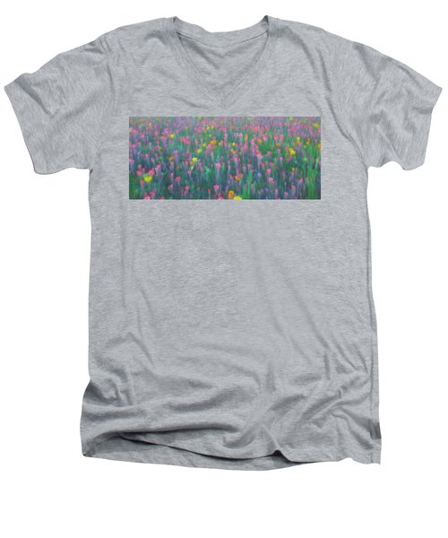 Texas Wildflowers Abstract Men's V-Neck T-Shirt