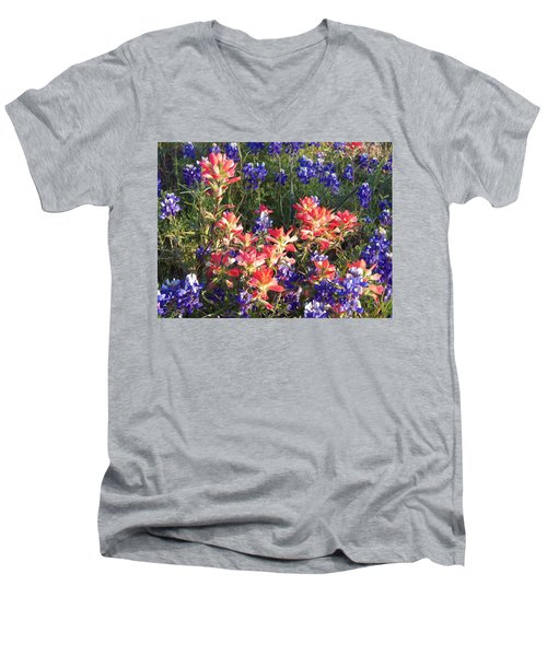 Men's V-Neck T-Shirt featuring the painting Texas Wildflowers by Karen Kennedy Chatham