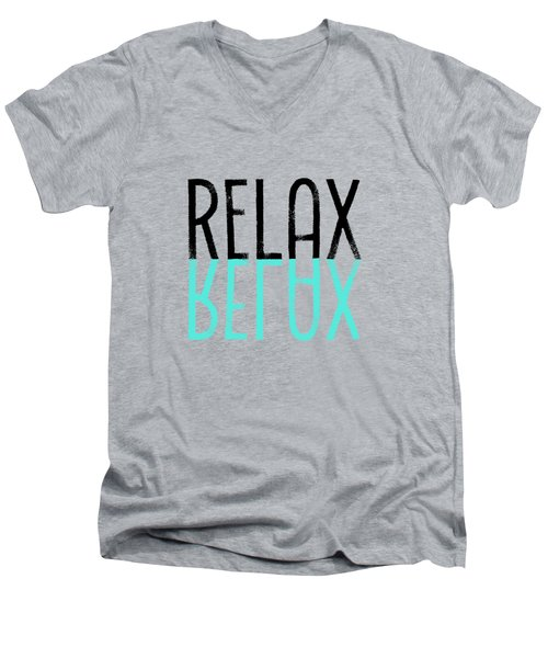 Text Art Relax - Cyan Men's V-Neck T-Shirt by Melanie Viola