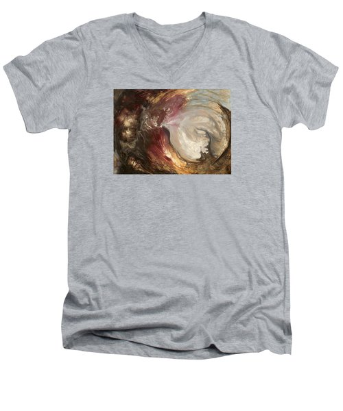 textured fluid acrylic original painting SACRED Men's V-Neck T-Shirt