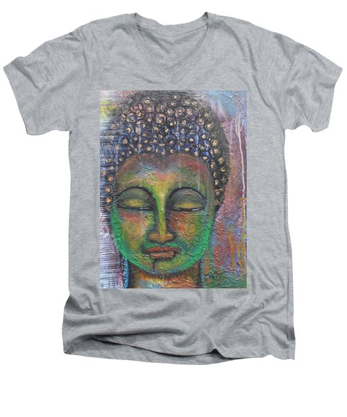 Men's V-Neck T-Shirt featuring the painting Textured Green Buddha by Prerna Poojara