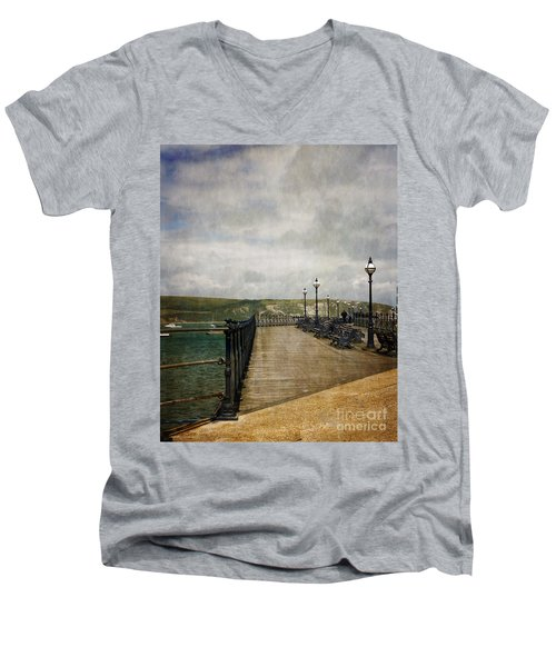 Textures On Swanage Pier Men's V-Neck T-Shirt by Linsey Williams