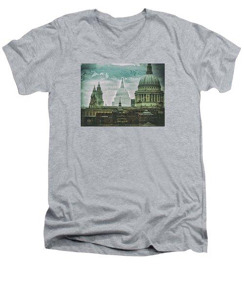 Thamesscape 2 -  Ghosts Of London Men's V-Neck T-Shirt
