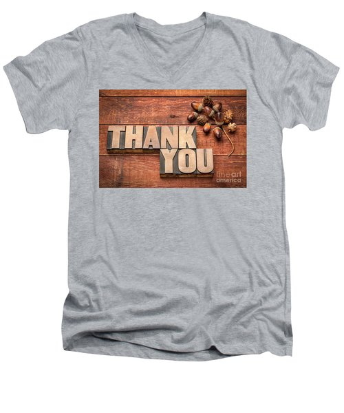 Than You Typography In Wood Type Men's V-Neck T-Shirt