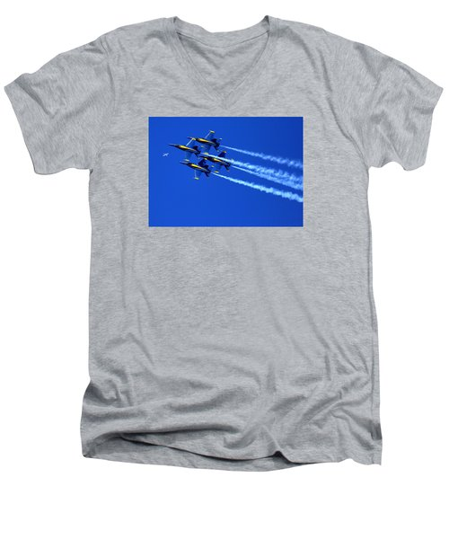 Thanks Goodness For That Fourth Dimension As A Boeing 767 Transitions Above The Box. Men's V-Neck T-Shirt