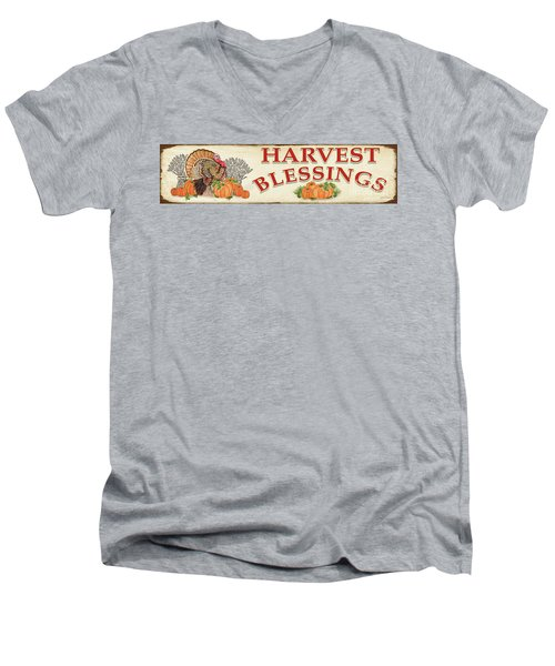 Men's V-Neck T-Shirt featuring the painting Thanksgiving-f by Jean Plout