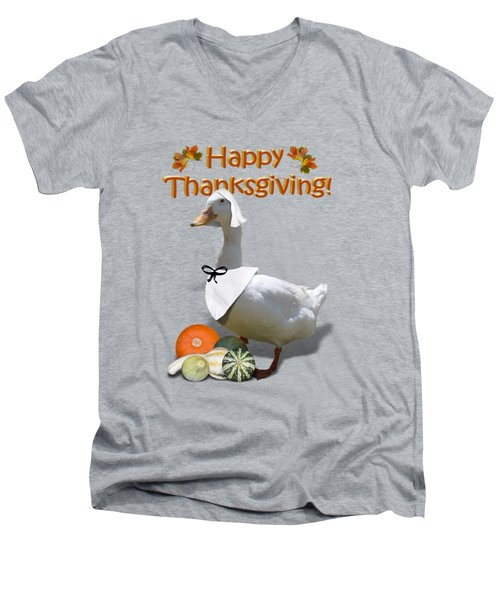 Thanksgiving Pilgrim Duck Men's V-Neck T-Shirt by Gravityx9  Designs