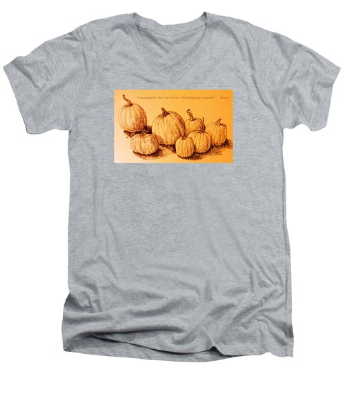 Thanksgiving Pumpkins Men's V-Neck T-Shirt by Deborah Dendler
