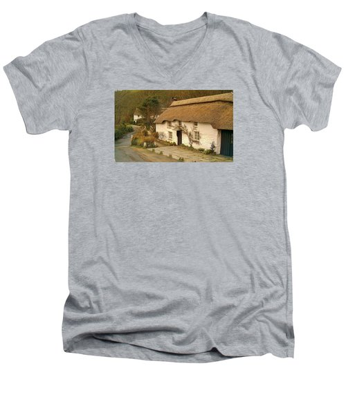 Thatched Cottage By Ford  Men's V-Neck T-Shirt by Richard Brookes