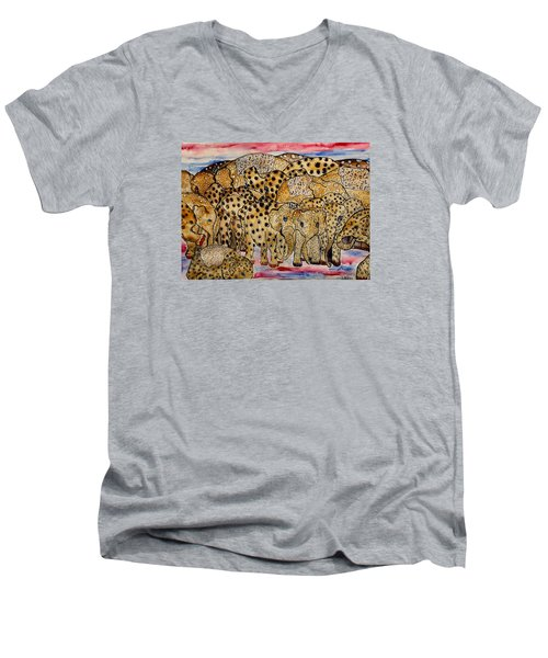 That's Alot Of Elephants Men's V-Neck T-Shirt by Lisa Aerts