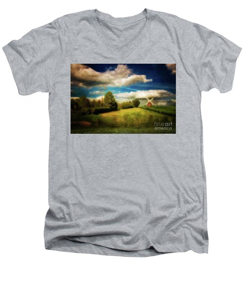 Thaxted With Millpond Men's V-Neck T-Shirt by Jack Torcello