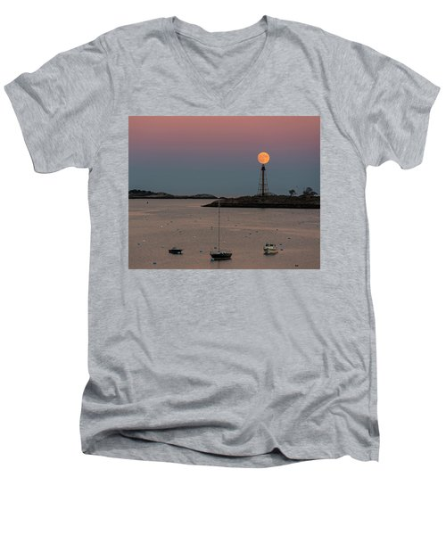The 2016 Supermoon Balancing On The Marblehead Light Tower In Marblehead Ma Men's V-Neck T-Shirt