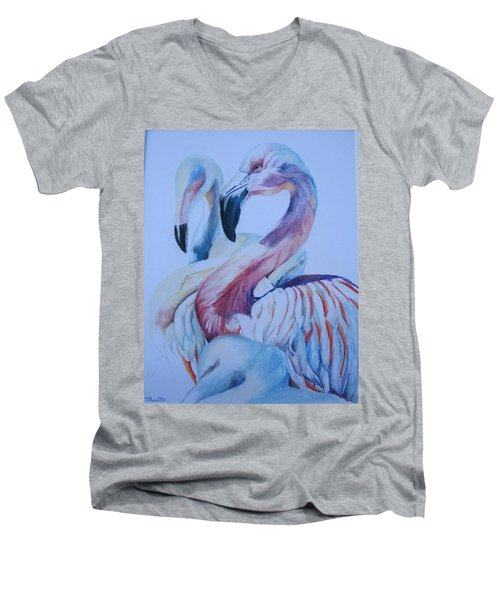 The 3 Flamingos Men's V-Neck T-Shirt