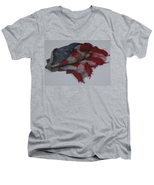 The 9 11 W T C Fallen Heros American Flag Men's V-Neck T-Shirt by Rob Hans