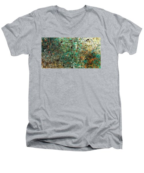 Men's V-Neck T-Shirt featuring the painting The Abstract Concept by Carmen Guedez