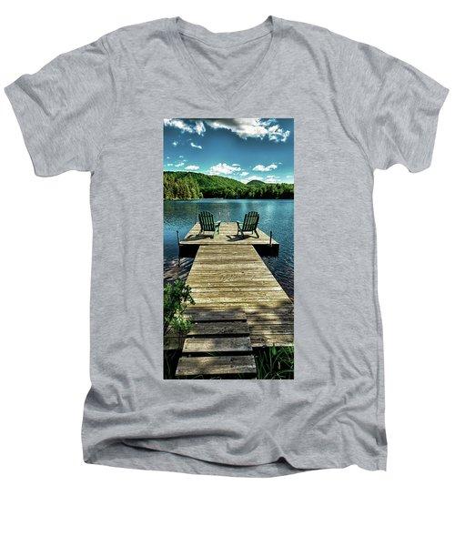 The Adirondacks Men's V-Neck T-Shirt by David Patterson