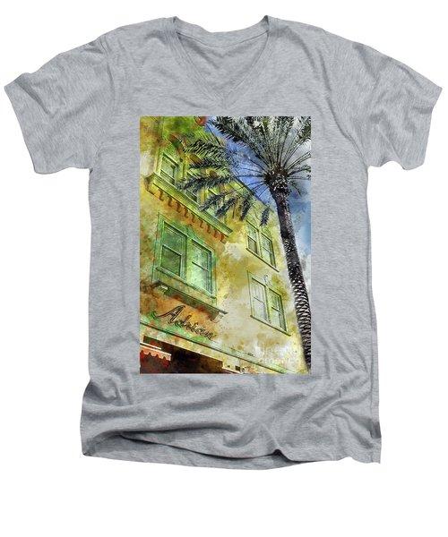 The Adrian Hotel South Beach Men's V-Neck T-Shirt by Jon Neidert