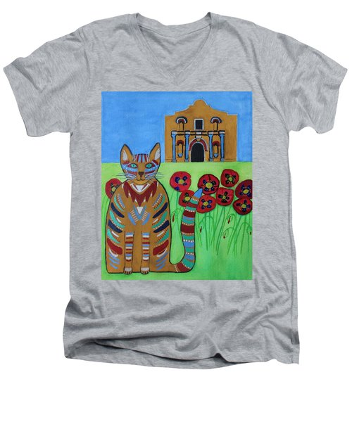 the Alamo Cat Men's V-Neck T-Shirt
