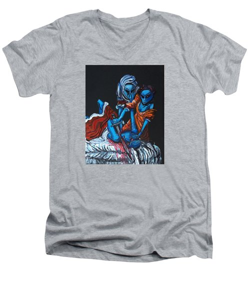 Men's V-Neck T-Shirt featuring the painting The Alien Judith Beheading The Alien Holofernes by Similar Alien