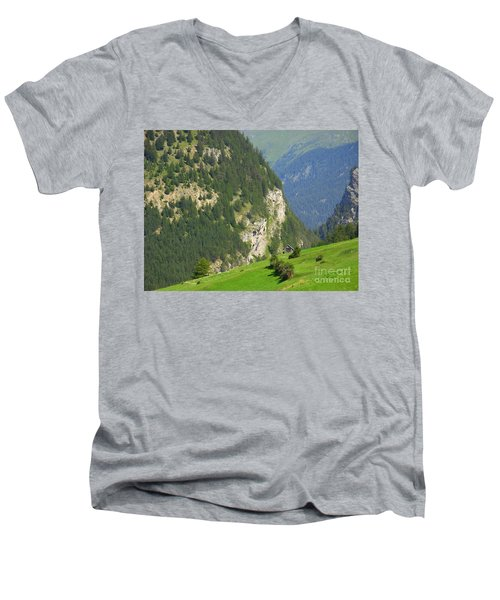 The Alps In Spring Men's V-Neck T-Shirt
